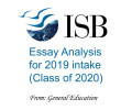 ISB Essays Analysis for 2019 intake (Class of 2020)